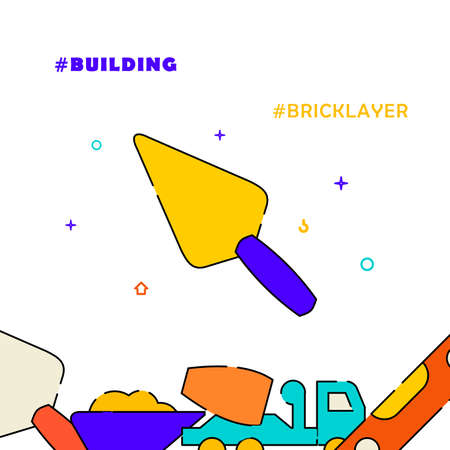 Masonry brick trowel filled line vector icon, simple illustration, related bottom border. Illustration