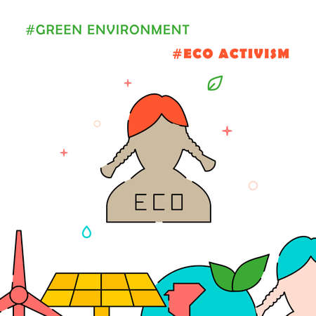Eco activist, girl with pigtails filled line vector icon, simple illustration, related bottom border.