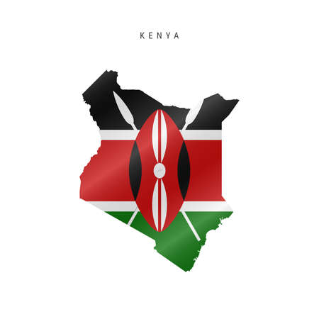 Detailed waving flag map of Kenya. Vector map with masked flag.