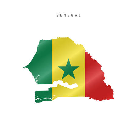 Detailed waving flag map of Senegal. Vector map with masked flag.