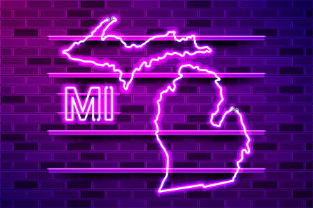Michigan US state glowing neon lamp sign. Realistic vector illustration. Purple brick wall, violet glow, metal holders.