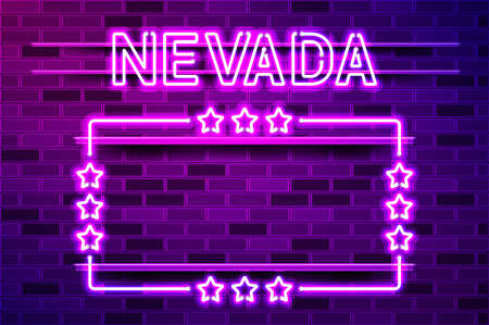 Nevada US State glowing purple neon lettering and a rectangular frame with stars. Realistic vector illustration. Purple brick wall, violet glow, metal holders.