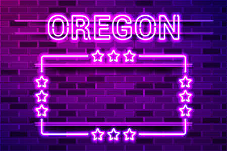Oregon US State glowing purple neon lettering and a rectangular frame with stars. Realistic vector illustration. Purple brick wall, violet glow, metal holders.