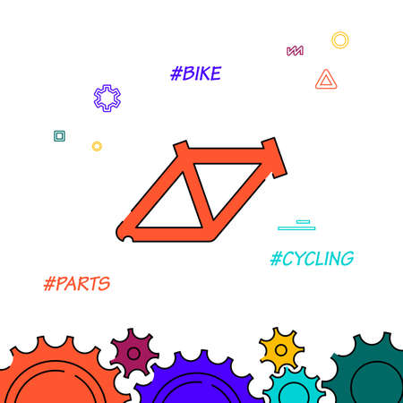 Bicycle frame filled line vector icon, simple illustration, related bottom border. Banco de Imagens - 155271778