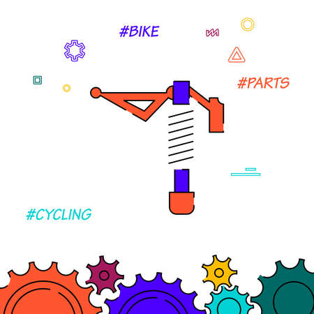 Bicycle rear shock absorber filled line vector icon, simple illustration, related bottom border.