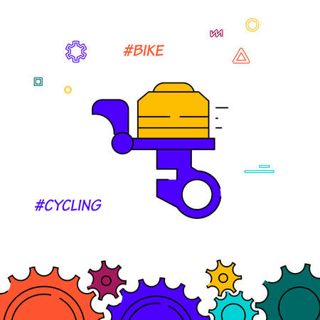 Bicycle bell filled line vector icon, simple illustration, related bottom border.