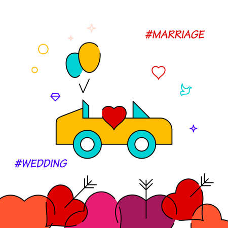 Wedding procession filled line vector icon, simple illustration, wedding related bottom border.