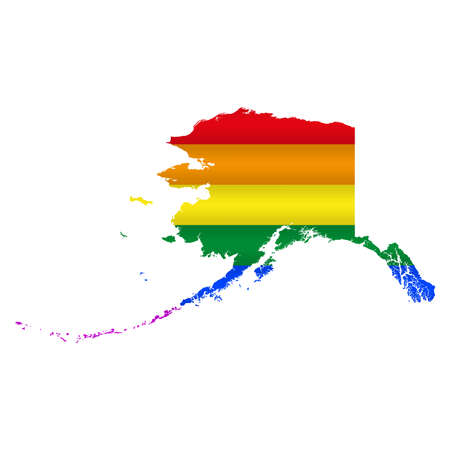 Alaska LGBT flag map. Vector illustration. Slightly wavy rainbow gay pride flag map.