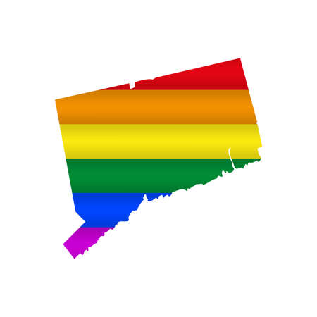 Connecticut LGBT flag map. Vector illustration. Slightly wavy rainbow gay pride flag map.