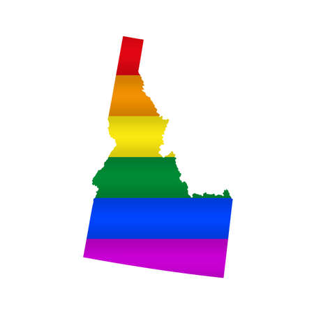 Idaho LGBT flag map. Vector illustration. Slightly wavy rainbow gay pride flag map.
