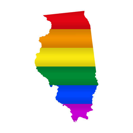 Illinois LGBT flag map. Vector illustration. Slightly wavy rainbow gay pride flag map.
