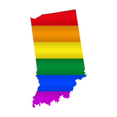 Indiana LGBT flag map. Vector illustration. Slightly wavy rainbow gay pride flag map.