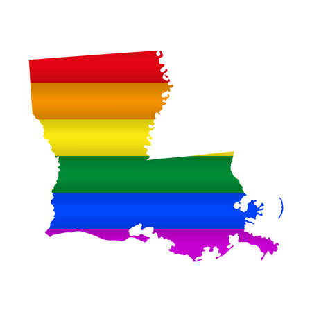 Louisiana LGBT flag map. Vector illustration. Slightly wavy rainbow gay pride flag map.