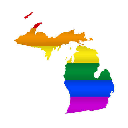 Michigan LGBT flag map. Vector illustration. Slightly wavy rainbow gay pride flag map.