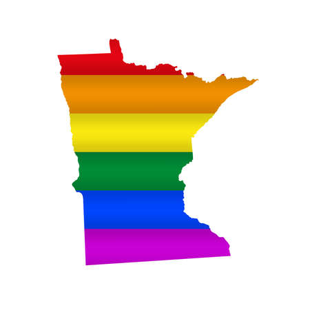 Minnesota LGBT flag map. Vector illustration. Slightly wavy rainbow gay pride flag map.  イラスト・ベクター素材