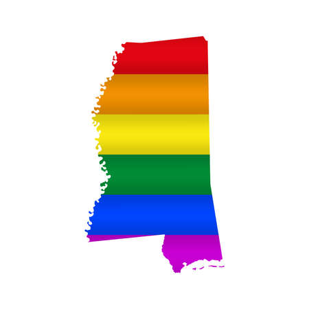 Mississippi LGBT flag map. Vector illustration. Slightly wavy rainbow gay pride flag map.
