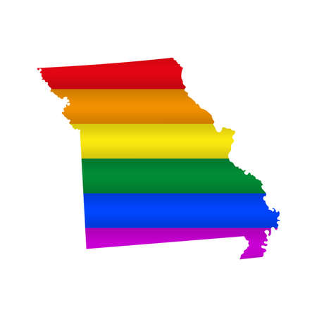 Missouri LGBT flag map. Vector illustration. Slightly wavy rainbow gay pride flag map.