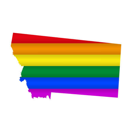 Montana LGBT flag map. Vector illustration. Slightly wavy rainbow gay pride flag map.