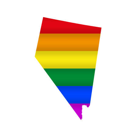 Nevada LGBT flag map. Vector illustration. Slightly wavy rainbow gay pride flag map.