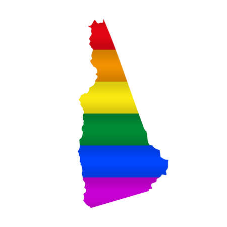 New Hampshire LGBT flag map. Vector illustration. Slightly wavy rainbow gay pride flag map.