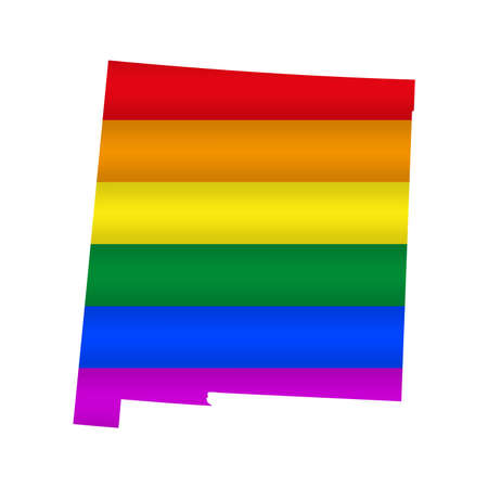 New Mexico LGBT flag map. Vector illustration. Slightly wavy rainbow gay pride flag map.  イラスト・ベクター素材