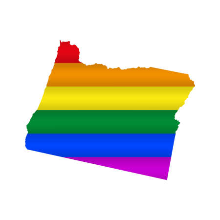 Oregon LGBT flag map. Vector illustration. Slightly wavy rainbow gay pride flag map.