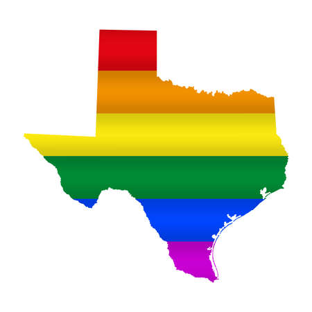 Texas LGBT flag map. Vector illustration. Slightly wavy rainbow gay pride flag map.