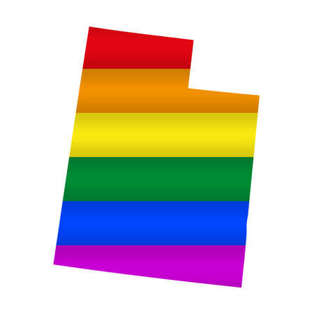 Utah LGBT flag map. Vector illustration. Slightly wavy rainbow gay pride flag map.