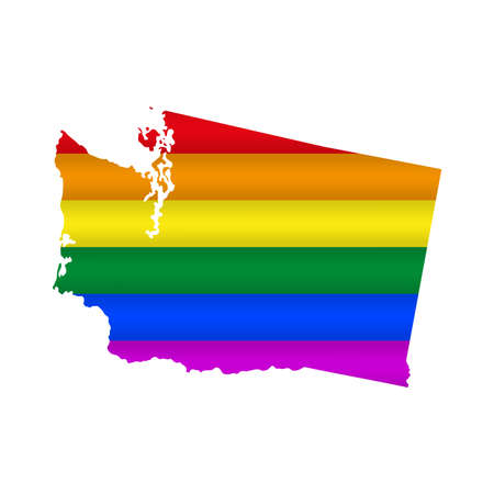 Washington LGBT flag map. Vector illustration. Slightly wavy rainbow gay pride flag map.