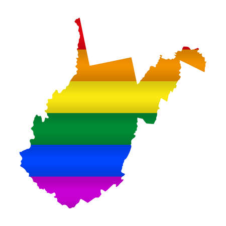 West Virginia LGBT flag map. Vector illustration. Slightly wavy rainbow gay pride flag map.