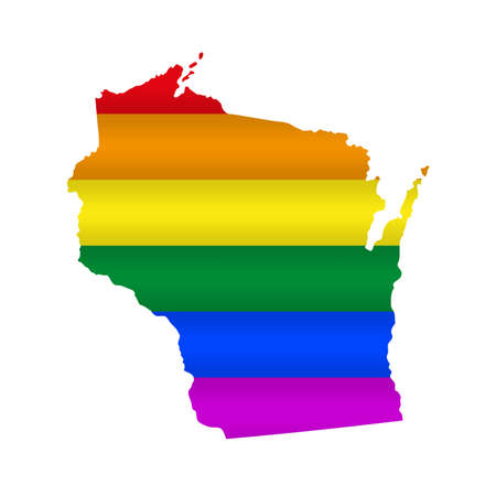 Wisconsin LGBT flag map. Vector illustration. Slightly wavy rainbow gay pride flag map.