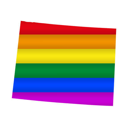 Wyoming LGBT flag map. Vector illustration. Slightly wavy rainbow gay pride flag map.