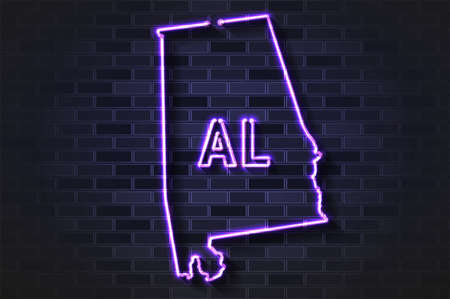 Alabama map glowing neon lamp or glass tube. Realistic vector illustration. Black brick wall, soft shadow.