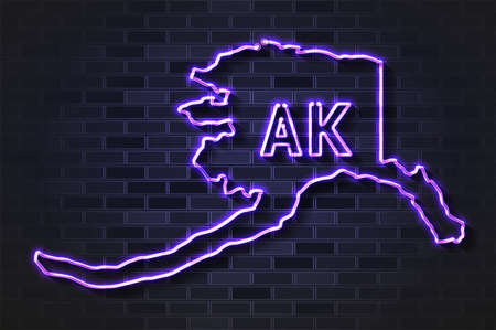 Alaska map glowing neon lamp or glass tube. Realistic vector illustration. Black brick wall, soft shadow.