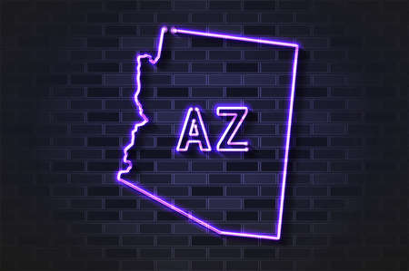 Arizona map glowing neon lamp or glass tube. Realistic vector illustration. Black brick wall, soft shadow.  イラスト・ベクター素材