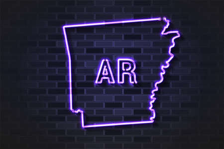 Arkansas map glowing neon lamp or glass tube. Realistic vector illustration. Black brick wall, soft shadow.