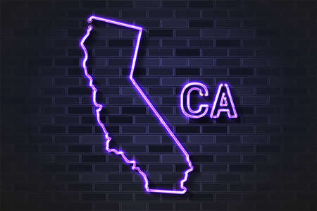 California map glowing neon lamp or glass tube. Realistic vector illustration. Black brick wall, soft shadow.  イラスト・ベクター素材