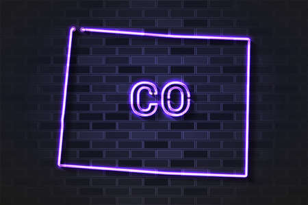 Colorado map glowing neon lamp or glass tube. Realistic vector illustration. Black brick wall, soft shadow.  イラスト・ベクター素材