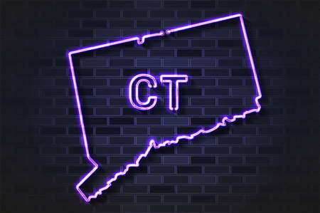 Connecticut map glowing neon lamp or glass tube. Realistic vector illustration. Black brick wall, soft shadow.