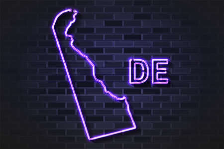 Delaware map glowing neon lamp or glass tube. Realistic vector illustration. Black brick wall, soft shadow.  イラスト・ベクター素材