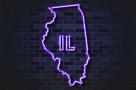Illinois map glowing neon lamp or glass tube. Realistic vector illustration. Black brick wall, soft shadow.