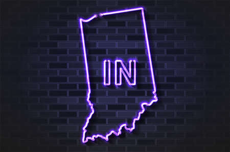 Indiana map glowing neon lamp or glass tube. Realistic vector illustration. Black brick wall, soft shadow.  イラスト・ベクター素材