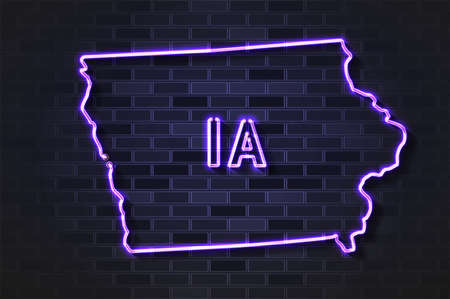 Iowa map glowing neon lamp or glass tube. Realistic vector illustration. Black brick wall, soft shadow.