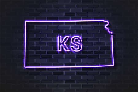 Kansas map glowing neon lamp or glass tube. Realistic vector illustration. Black brick wall, soft shadow.
