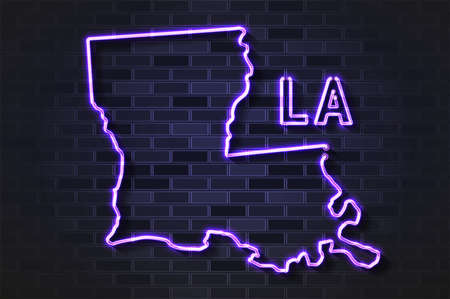 Louisiana map glowing neon lamp or glass tube. Realistic vector illustration. Black brick wall, soft shadow.