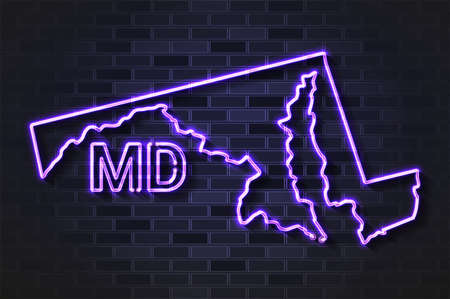 Maryland map glowing neon lamp or glass tube. Realistic vector illustration. Black brick wall, soft shadow.  イラスト・ベクター素材