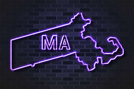 Massachusetts map glowing neon lamp or glass tube. Realistic vector illustration. Black brick wall, soft shadow.  イラスト・ベクター素材