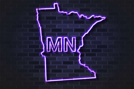 Minnesota map glowing neon lamp or glass tube. Realistic vector illustration. Black brick wall, soft shadow.