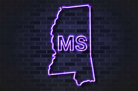 Mississippi map glowing neon lamp or glass tube. Realistic vector illustration. Black brick wall, soft shadow.