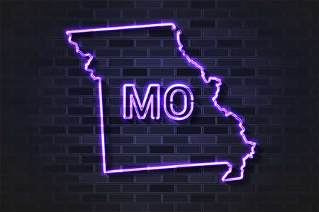 Missouri map glowing neon lamp or glass tube. Realistic vector illustration. Black brick wall, soft shadow.  イラスト・ベクター素材